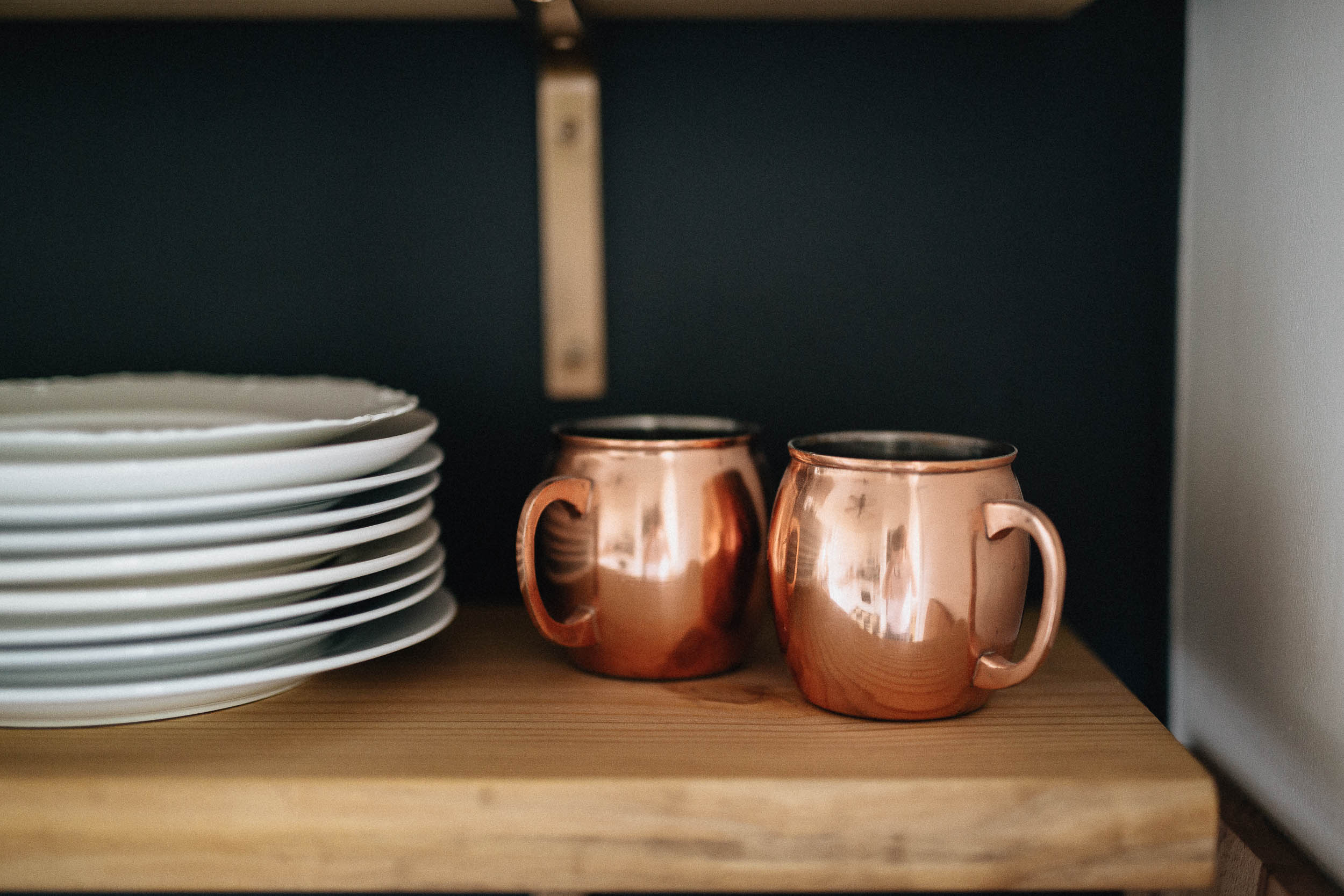 Open Shelves and Copper Mugs