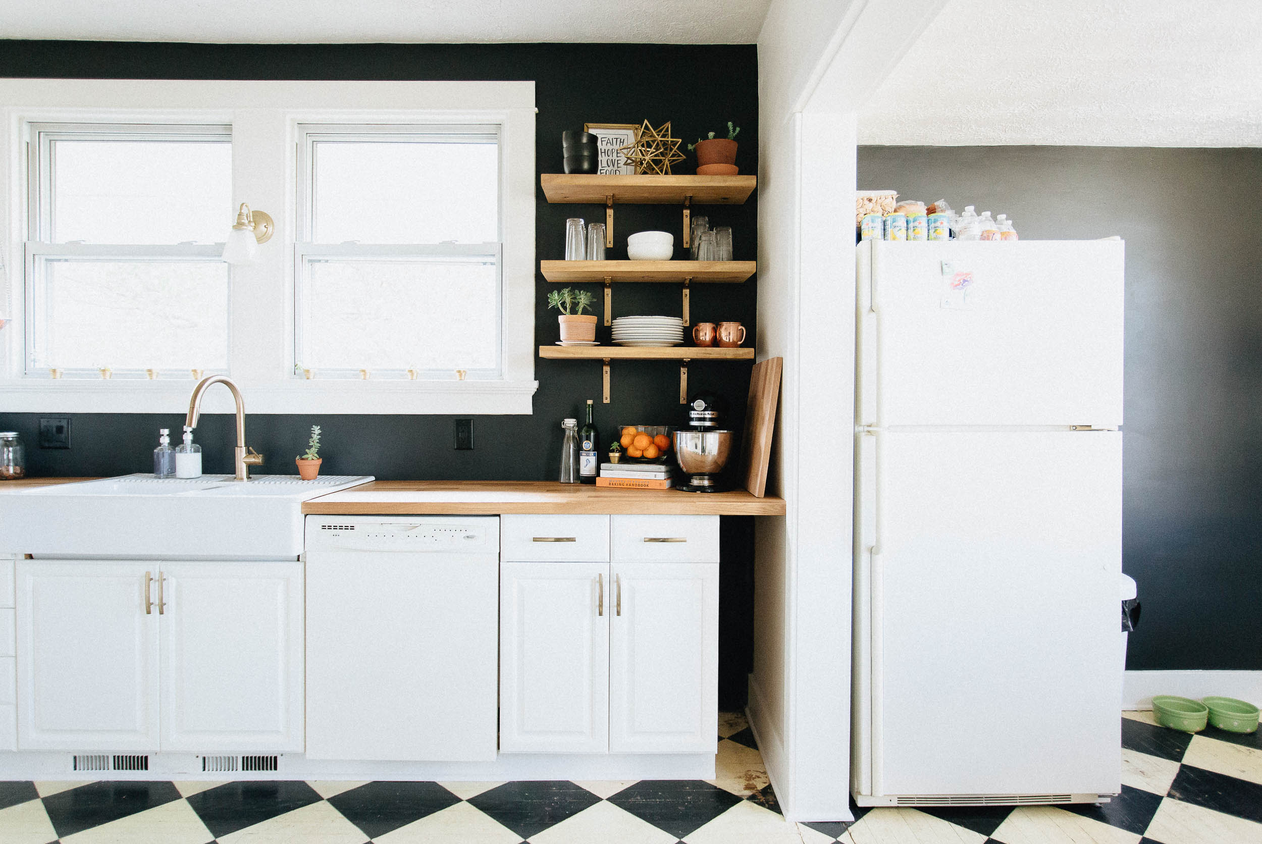 DIY Black and White Kitchen with Butcher Block and Open Shelves