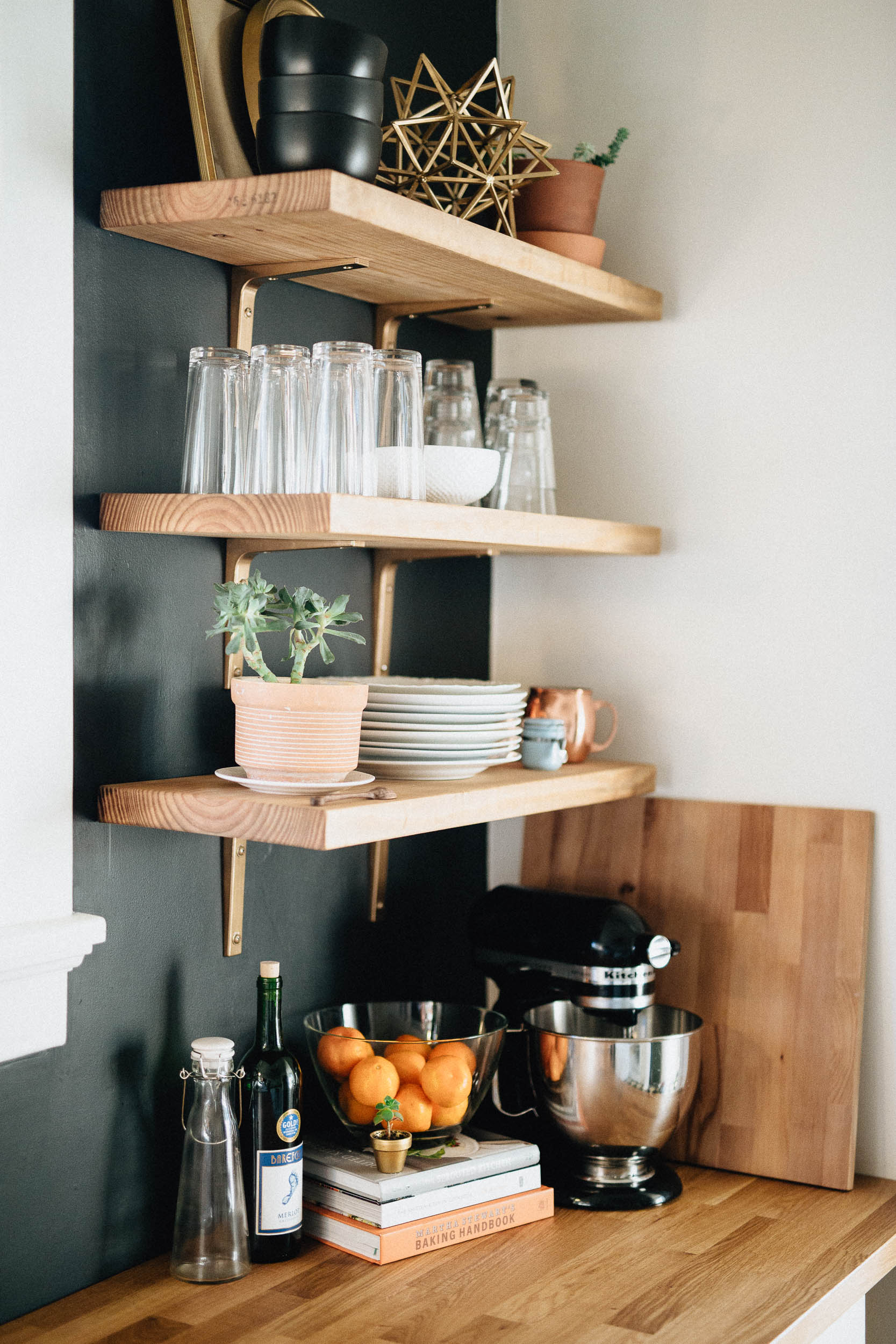 DIY Black White and Gold Modern Kitchen with Open Shelves