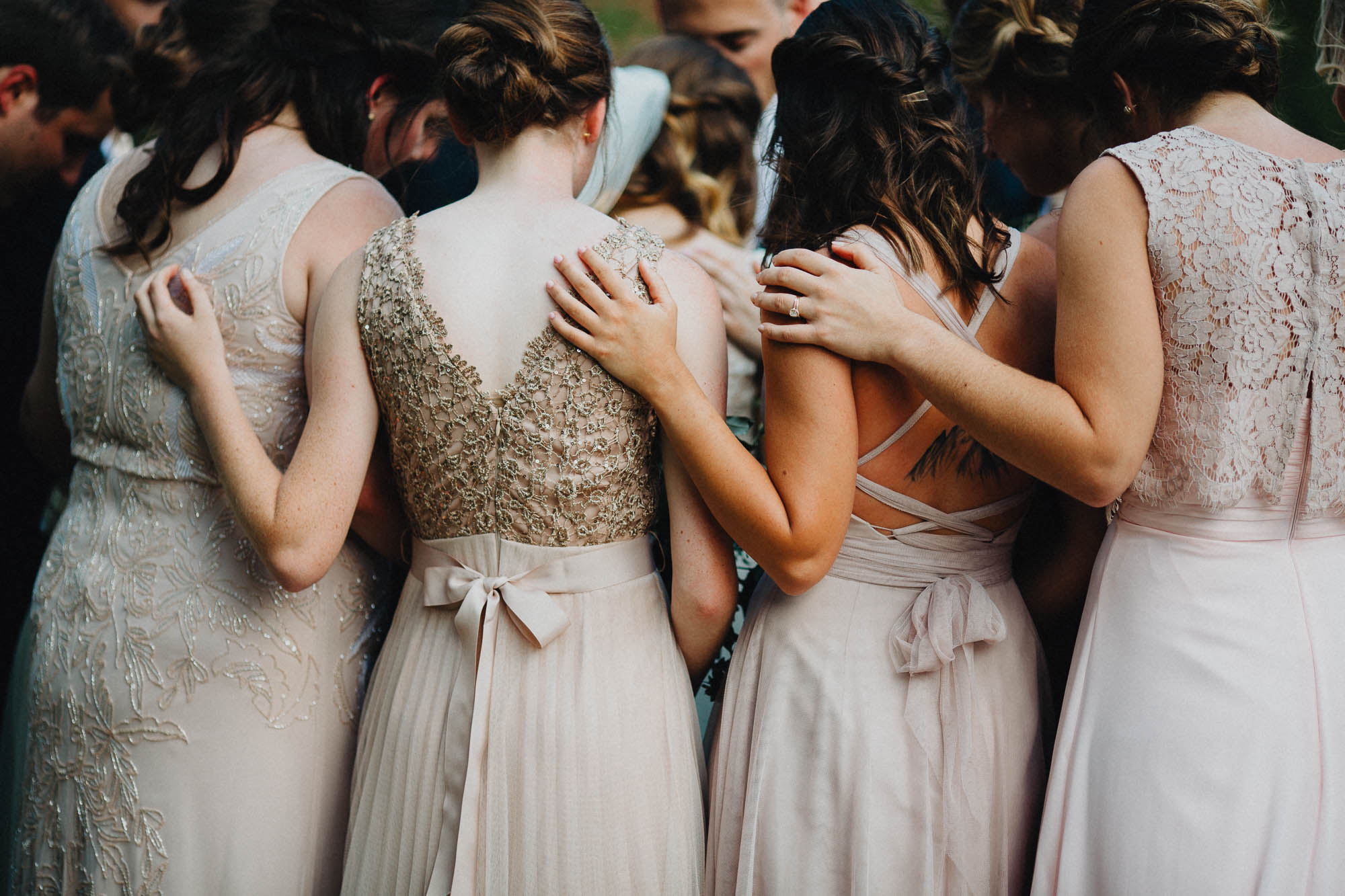 Bridesmaids Pray During an Outdoor Wedding Ceremony in Ohio