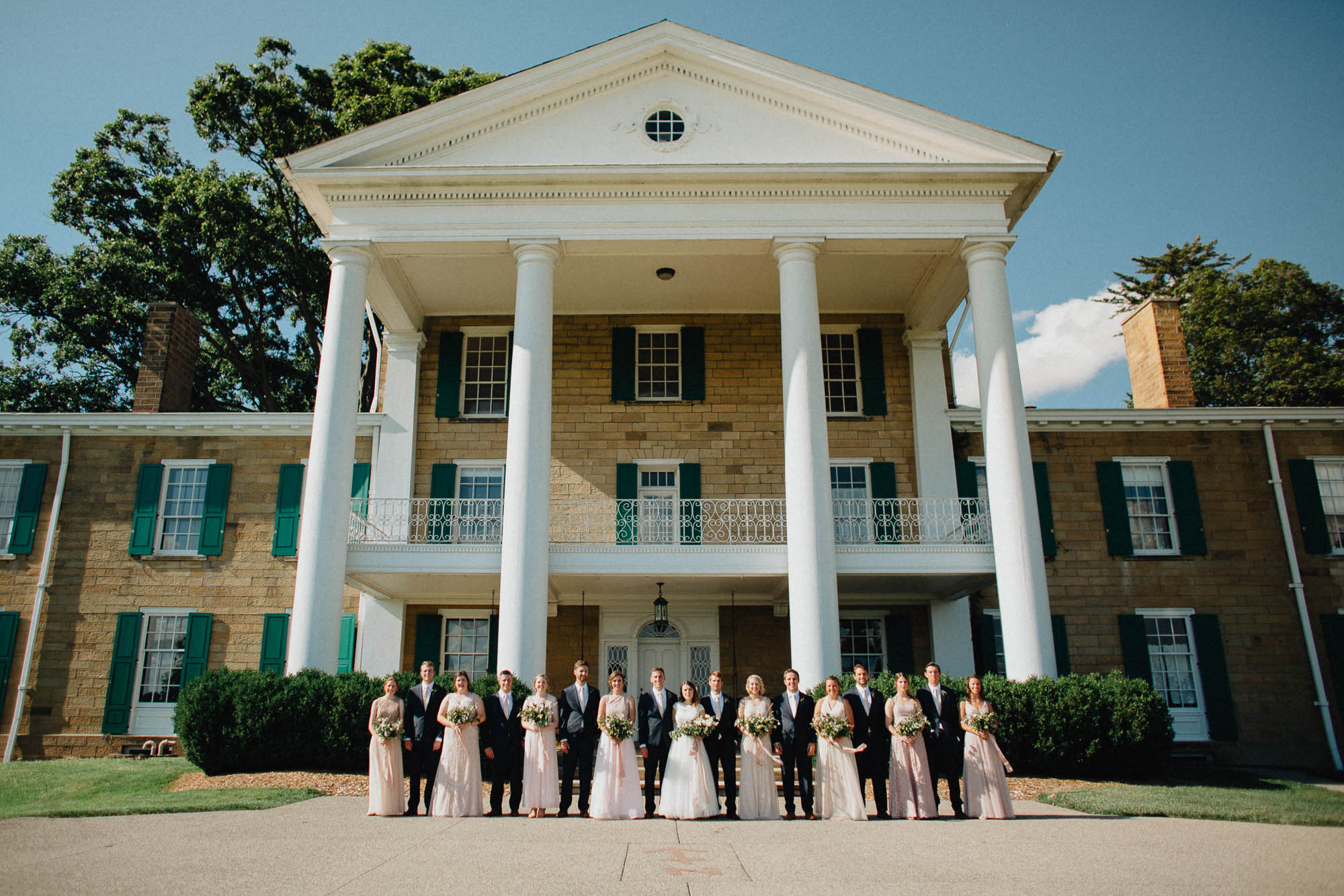 Bridal Party in Front of The Bryn Du Mansion