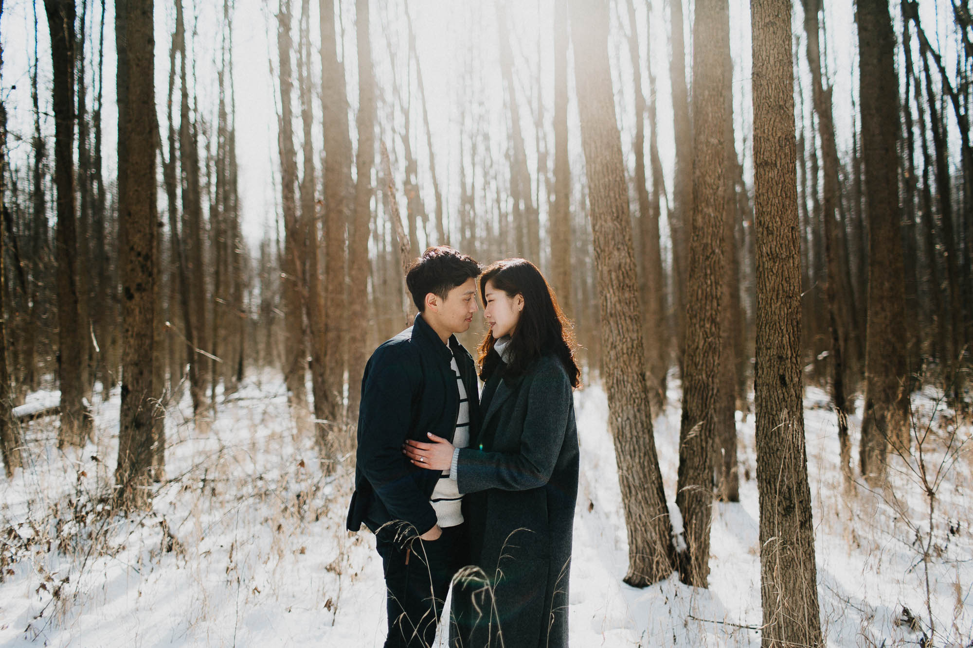 Sunflare Snow Engagement Photos in Walnut Woods