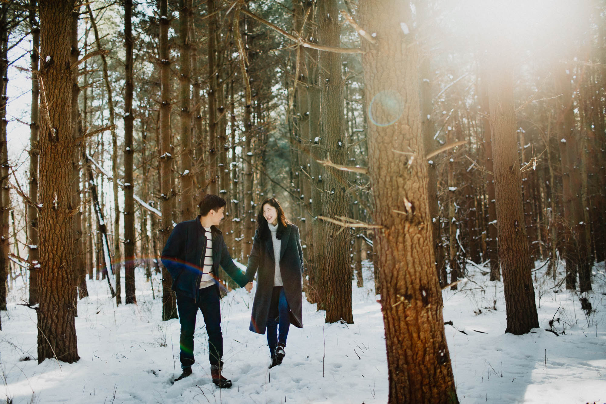 Sunny Snowy Winter Engagement in Columbus