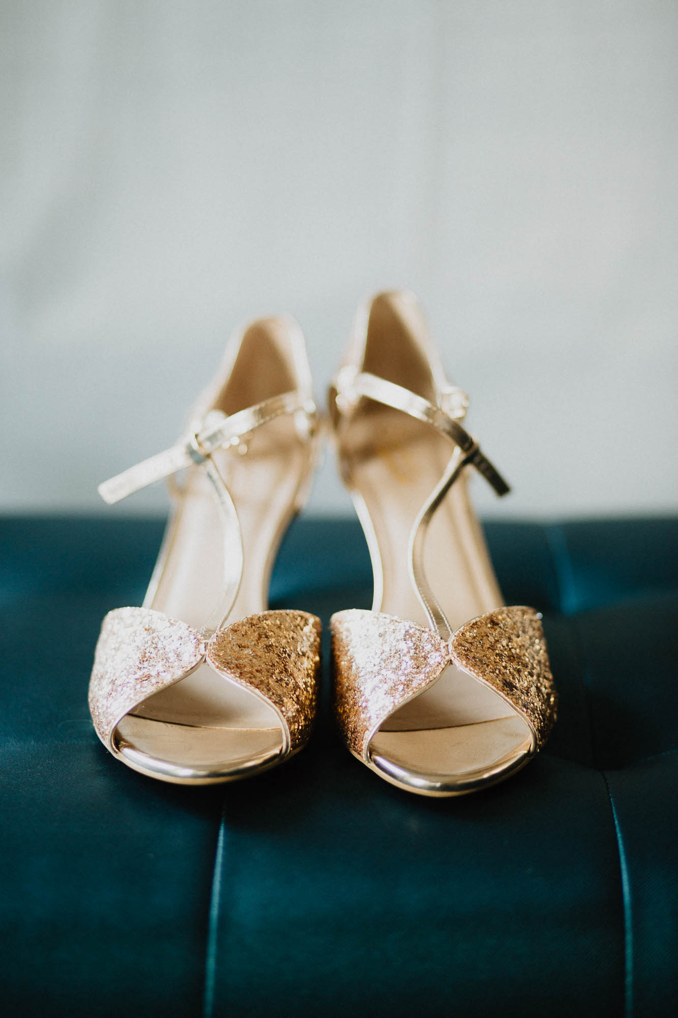 Bride's BHLDN Shoes During Prep Photo