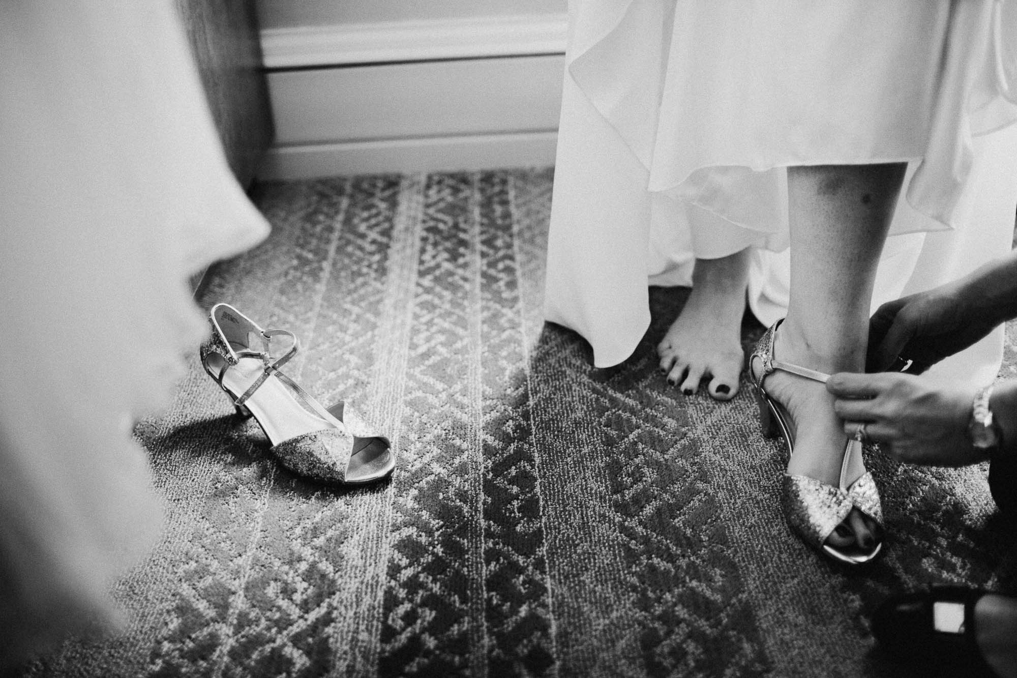 Moody Black and White Bride Getting Ready