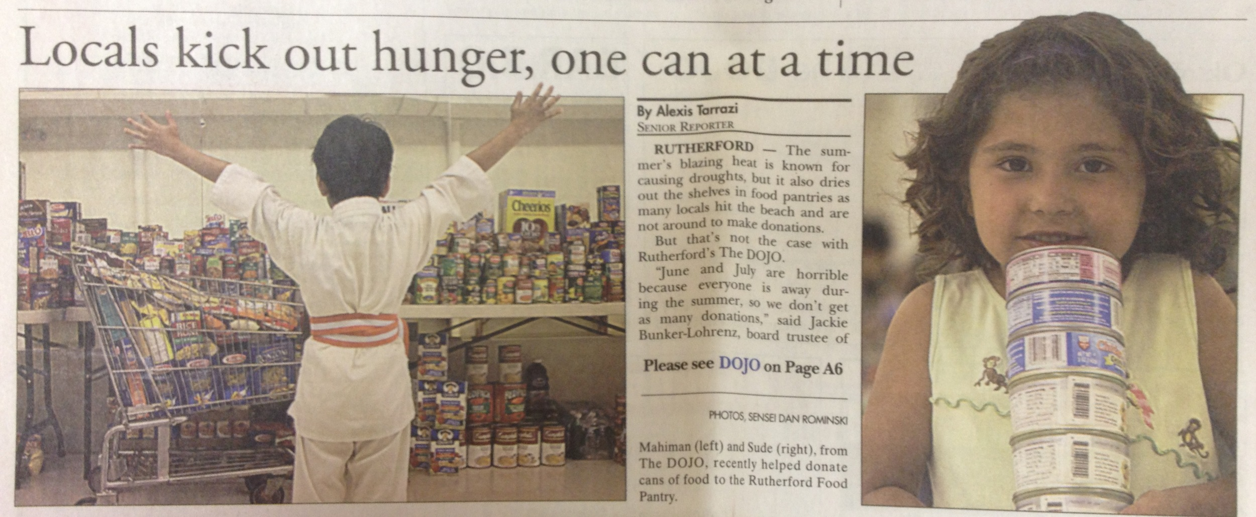 TheDOJO Food Drive has over the past 9 years raised about 20,000 food items, personal hygiene products & school supplies for The Rutherford Food Pantry.