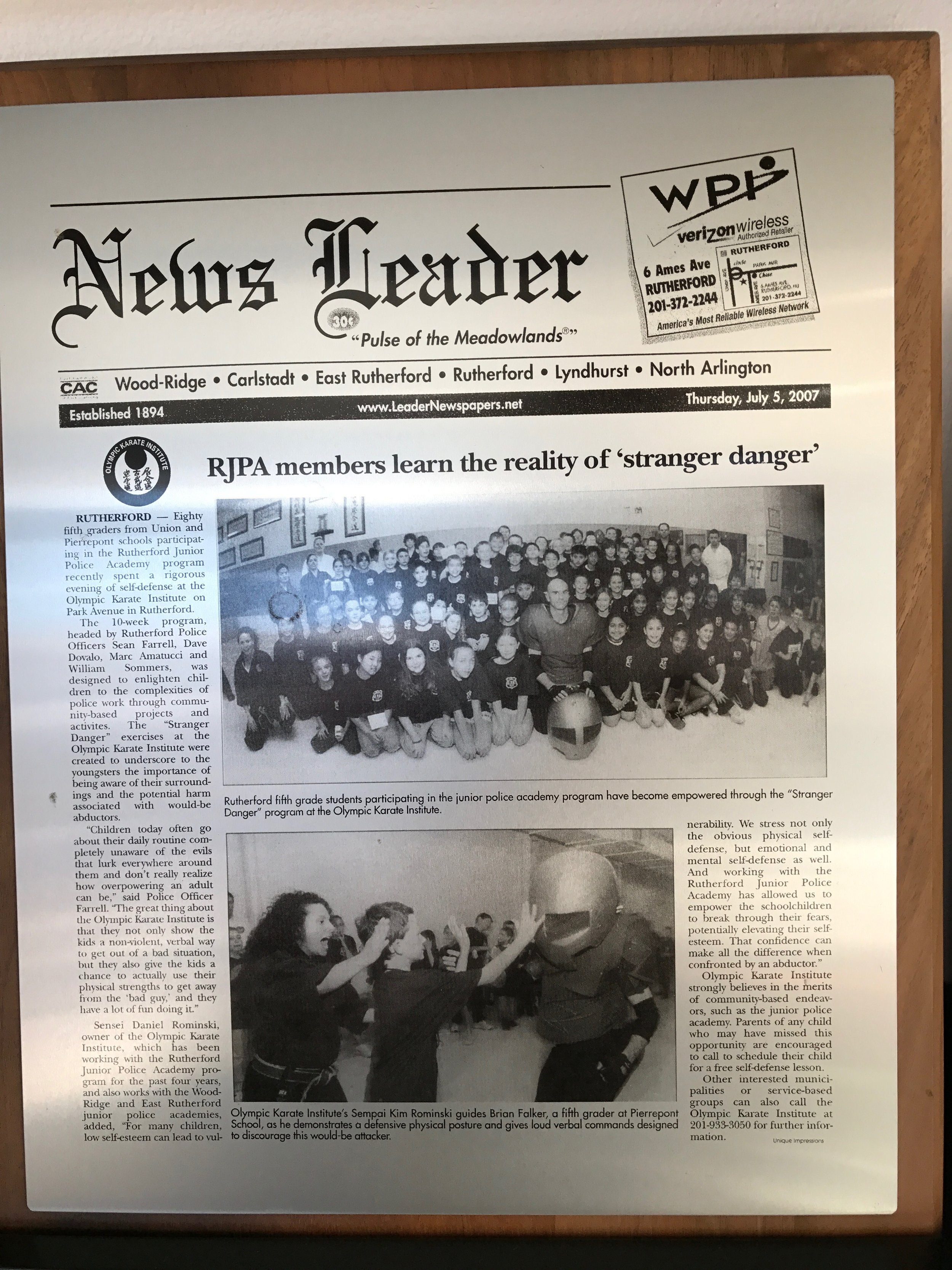 Sensei Dan Rominski TheDOJO Rutherford NJ Martial Arts Jr Police Academy Article.jpg