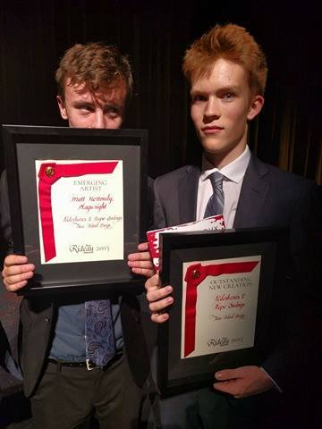 2 Kind Boys with 2 Cool Plaques. Photo Courtesy of Two Kind Boys & the Prix Rideau Awards
