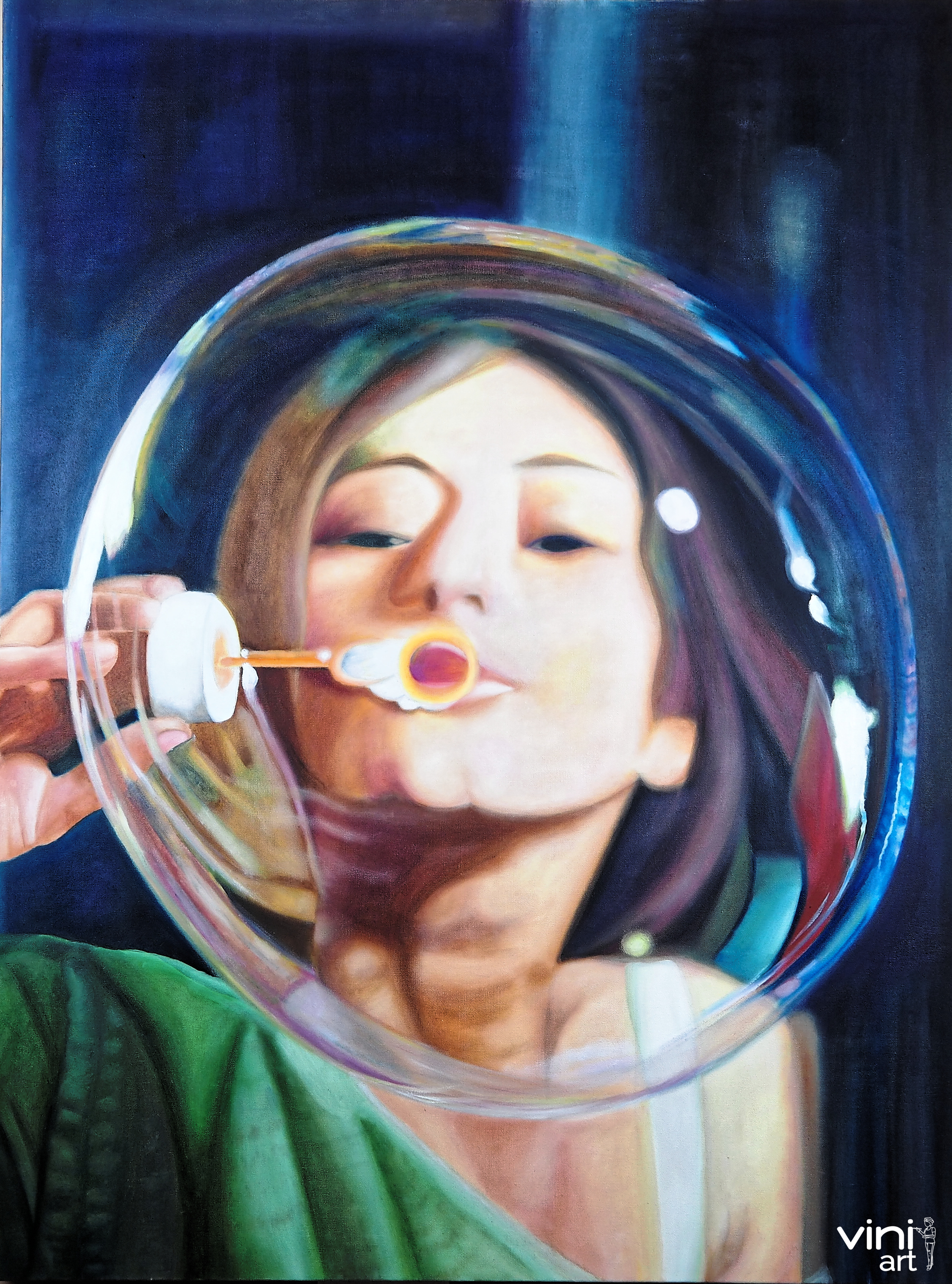 Bubble Therapy - Finally completed my latest painting Bubble Therapy on 3ft x 4ft canvas.Whenever I am stuck in a mental loop, I bring out the bubble solution and wand and blow bubbles. Bubbles remind me that energy is being created and destroyed and re-created constantly. It's hard to hang on to fixed beliefs when bubbles are shimmering, sparkling and popping in glorious rainbow colors all around you.Thoughts, beliefs, mind loops are just patterns of energy. So the next time you feel stuck in a familiar groove, create and destroy and transmute by blowing bubbles. The energy will shift. Old patterns will dissolve. New ones will emerge, to dissolve in turn…Credits: Mario Zamora for the awesome reference pictureHiro Boga for her inspirational blog including looking at bubbles as therapy.