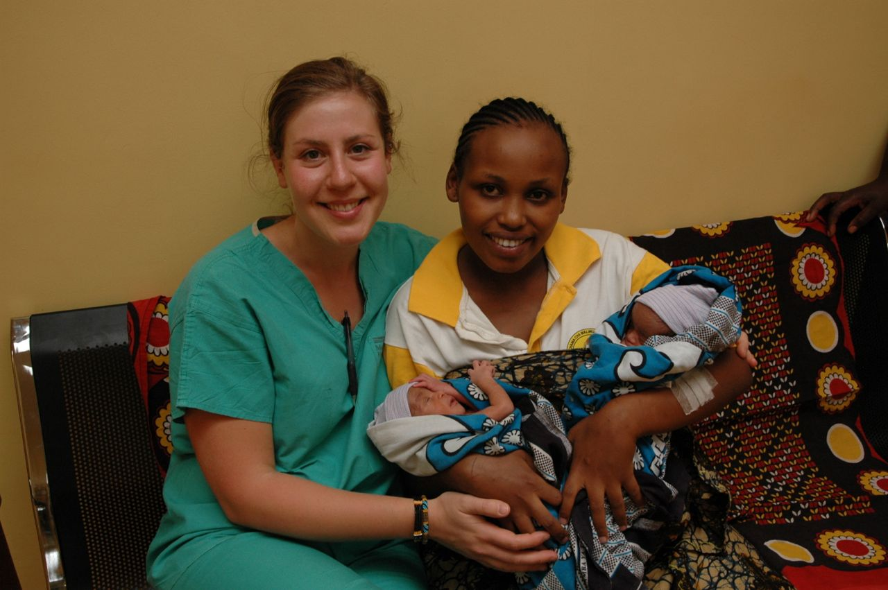 Volunteer Nurse Chana Schaffer with new mother and her healthy twins
