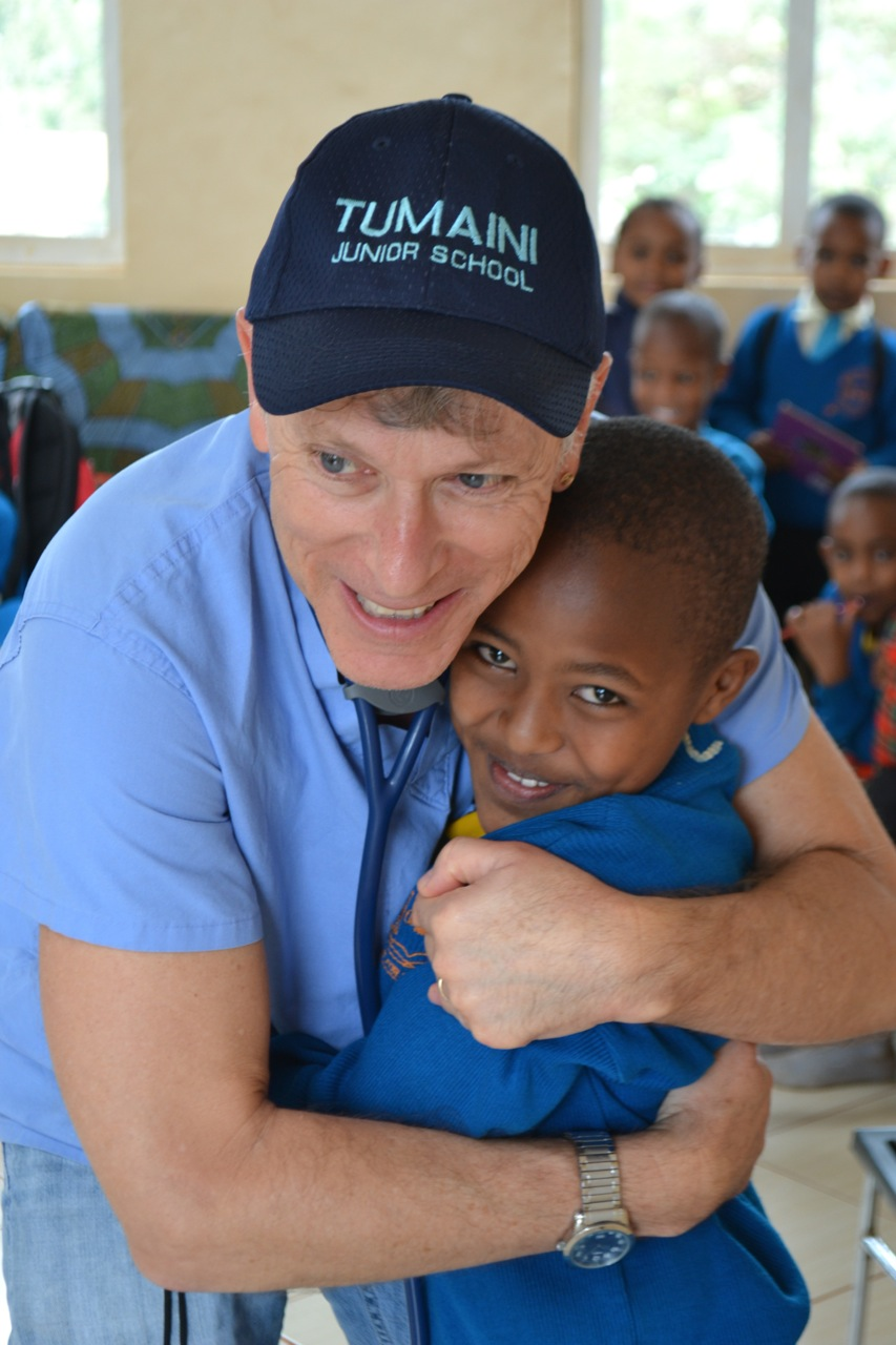 Dr. Reed during heart checkups at a primary school