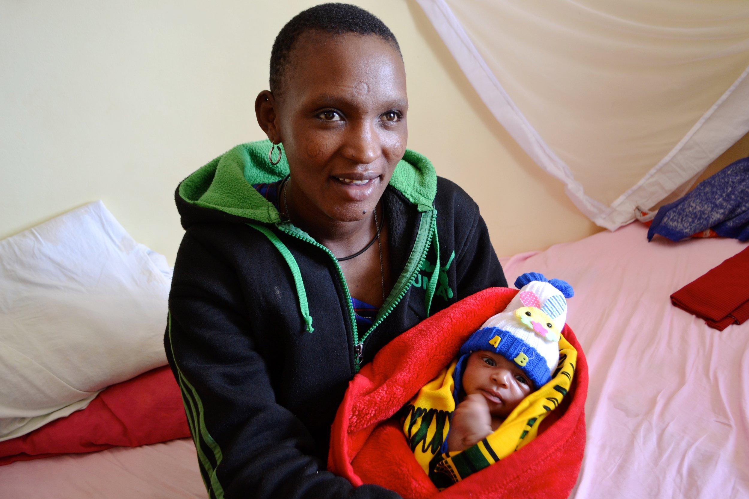 Namunyaki and her son, Julius, on discharge day