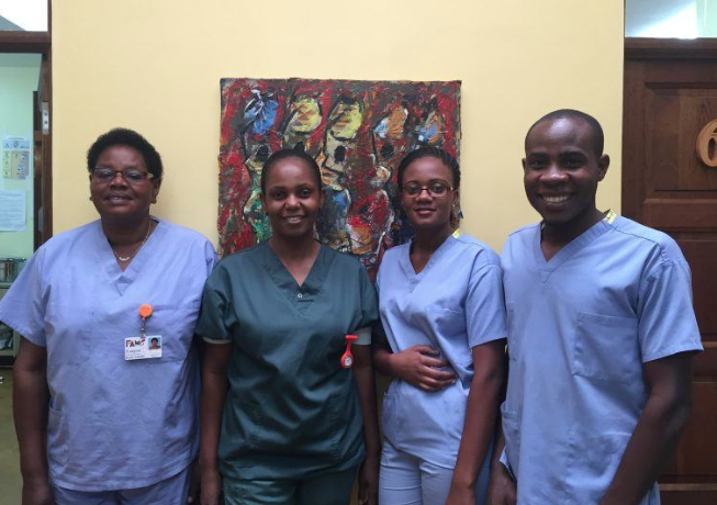 Evelyn, Ruhama, Agness and Jacob, nurse-midwives at FAME