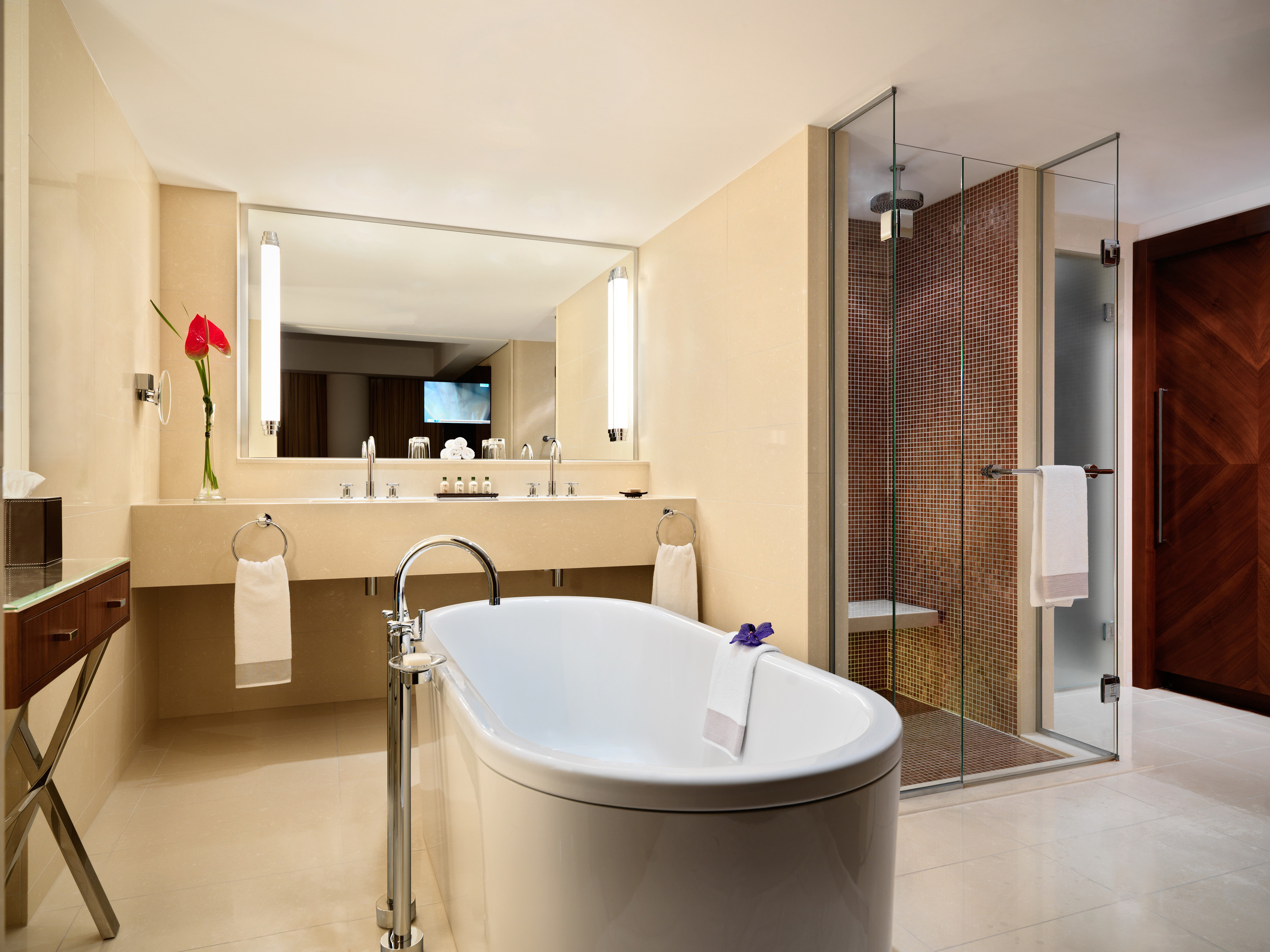 Jumeirah Frankfurt  is a futuristic tower (with fittingly minimalist interiors) set within the heart of the historic city