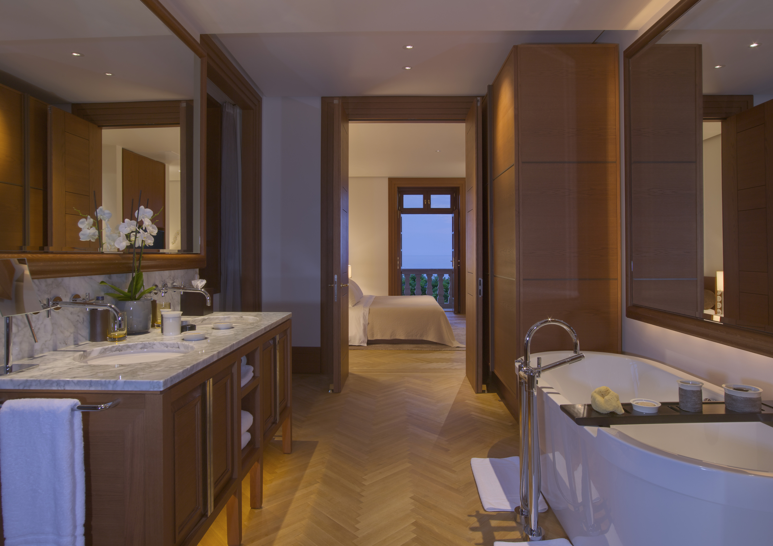 A suite at the Aman Sveti Stefan  in Montenegro, once a royal villa.