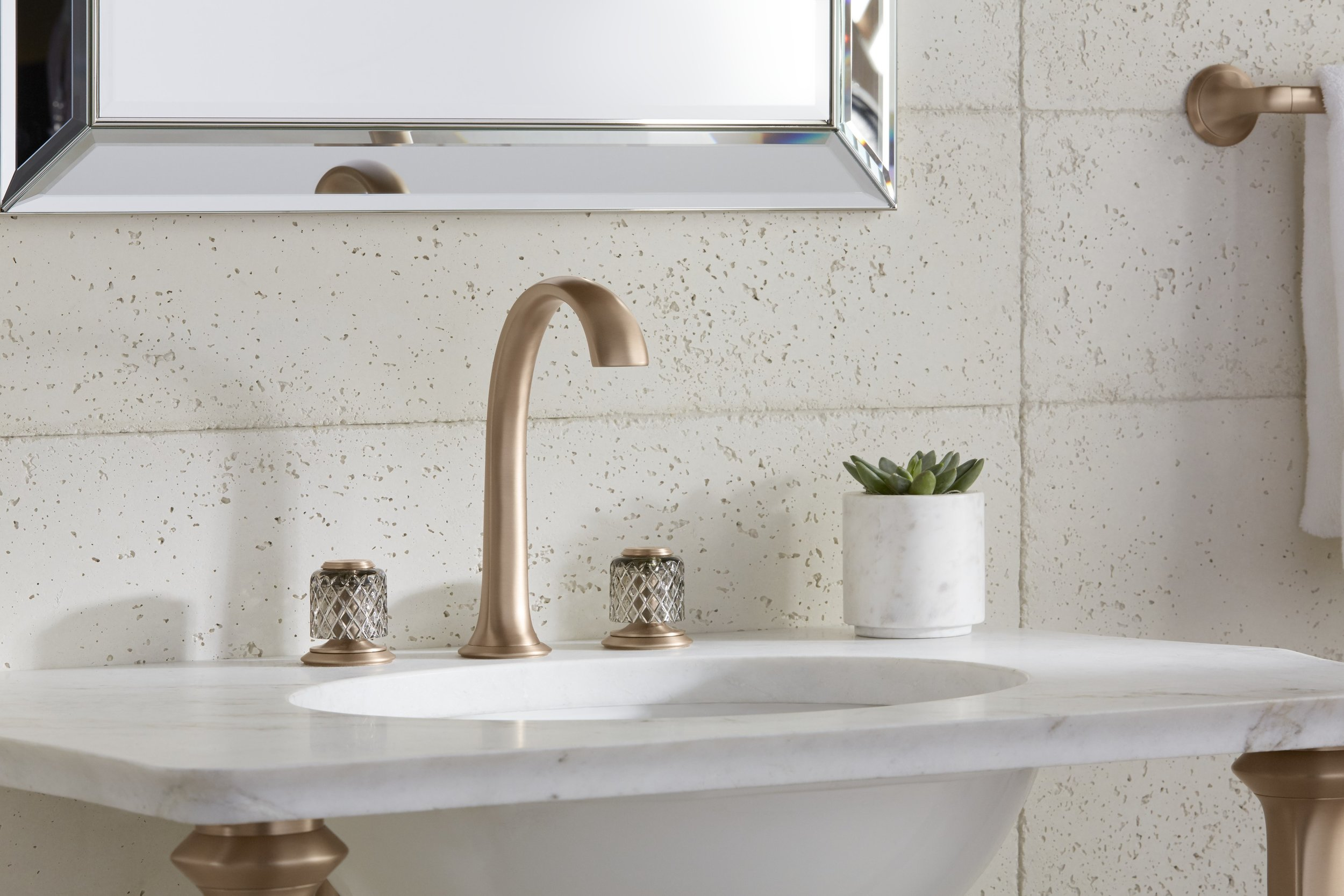 Script arch spout faucet in blush bronze (new finish) with St. Louis crystal knobs.jpg
