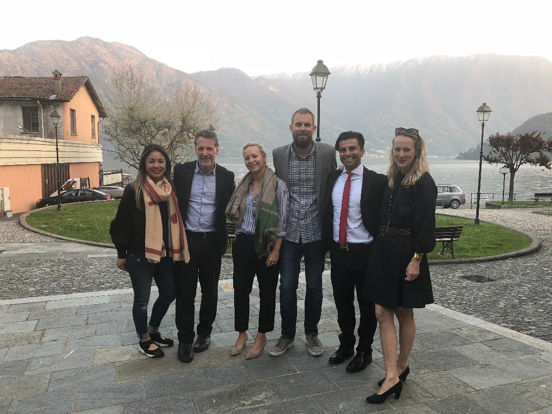 On Lake Como, left to right: Edel Legaspi, Russ, Wendy Haworth, Chris Courts, Anthony Davani of Kreoo, and Ames Ingham