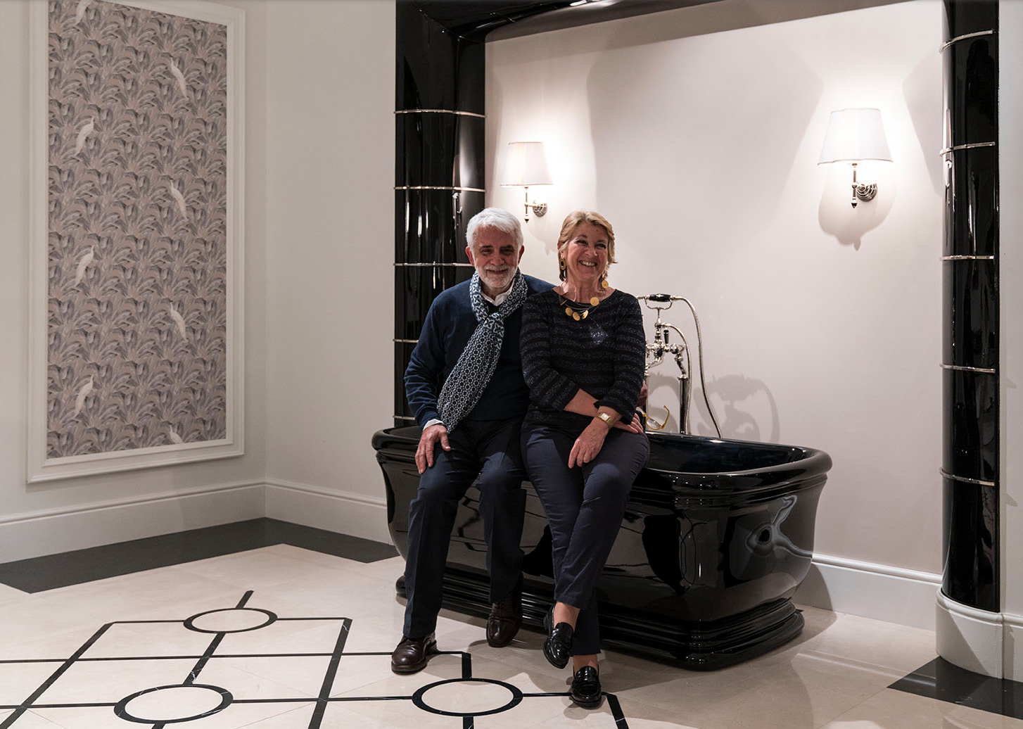 Architects Gianni and Paola Tanini, who founded Devon & Devon together in Florence, Italy, in 1989, at Salone del Mobile.