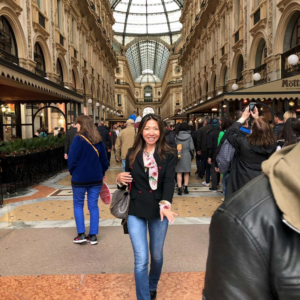 Designer  Julia Wong  enjoying Milan during our trip to Salone del Mobile last spring.