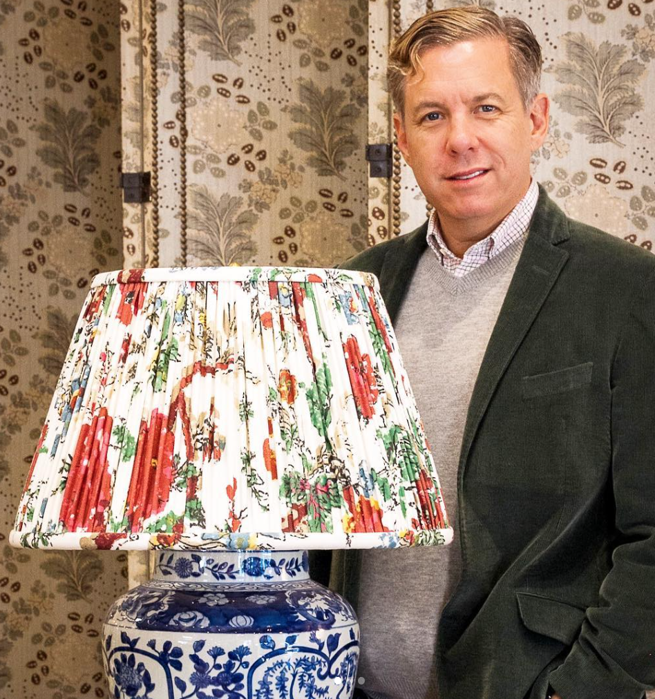 Above: Michael with the one-of-a-kind lampshade he designed for Vaughan's  Watts of Love  fundraiser this fall.