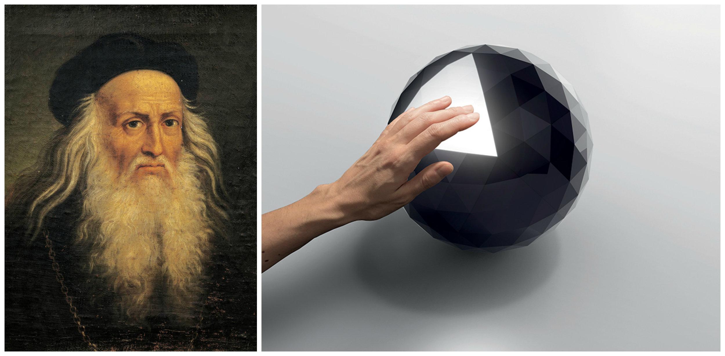 Photograph of a portrait of Leonardo Da Vinci, De Agostini/Getty  via National Geographic ; Huara by Artemide,  via Metropolis