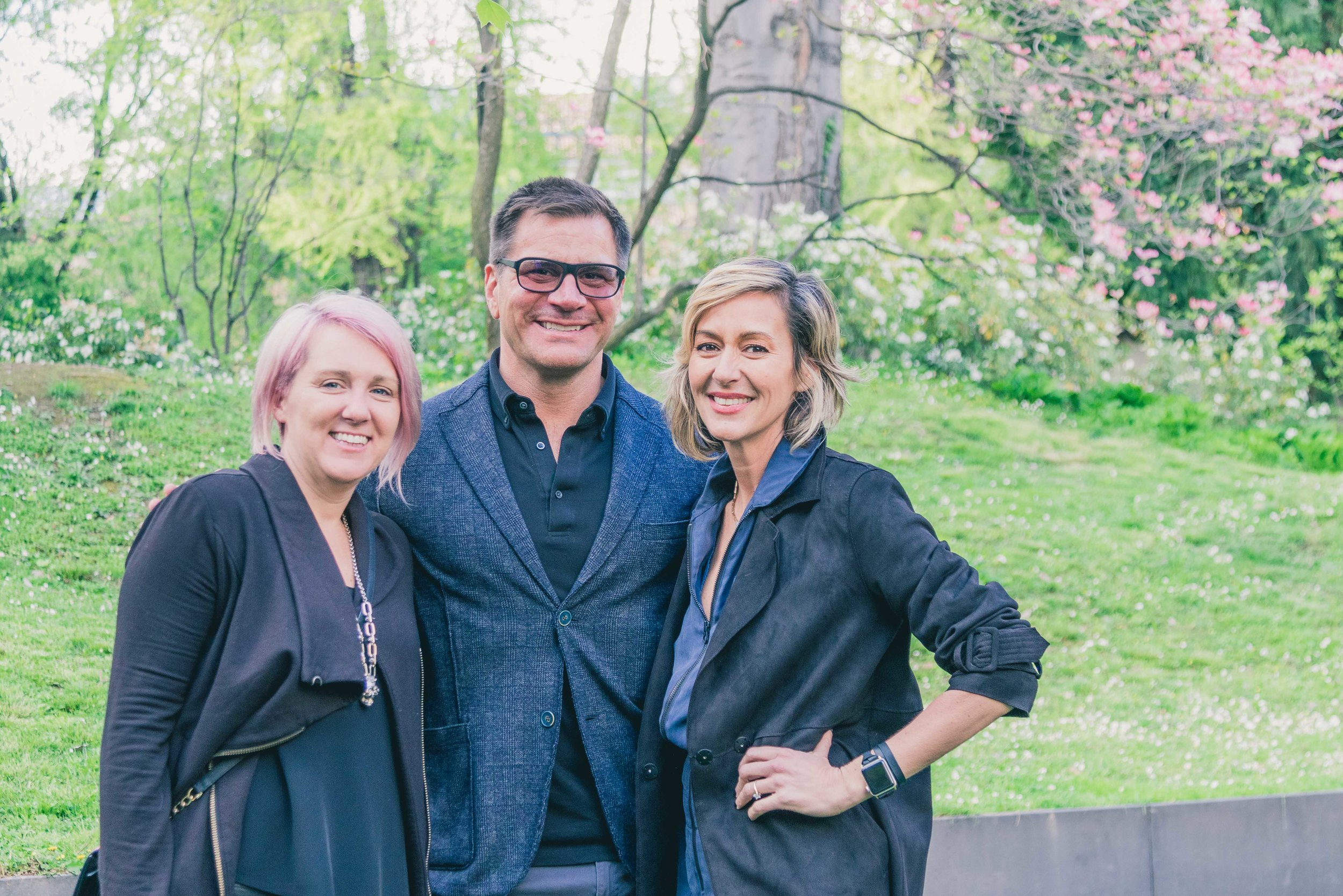 Tracy Hiner of  Black Crow Studios , interior designer  Stephan Jones  and Ginna Christensen of  GC Collaborative  at our Milan welcome party at the Bulgari Hotel this spring. Photograph by  Gintare Bandinskaite .