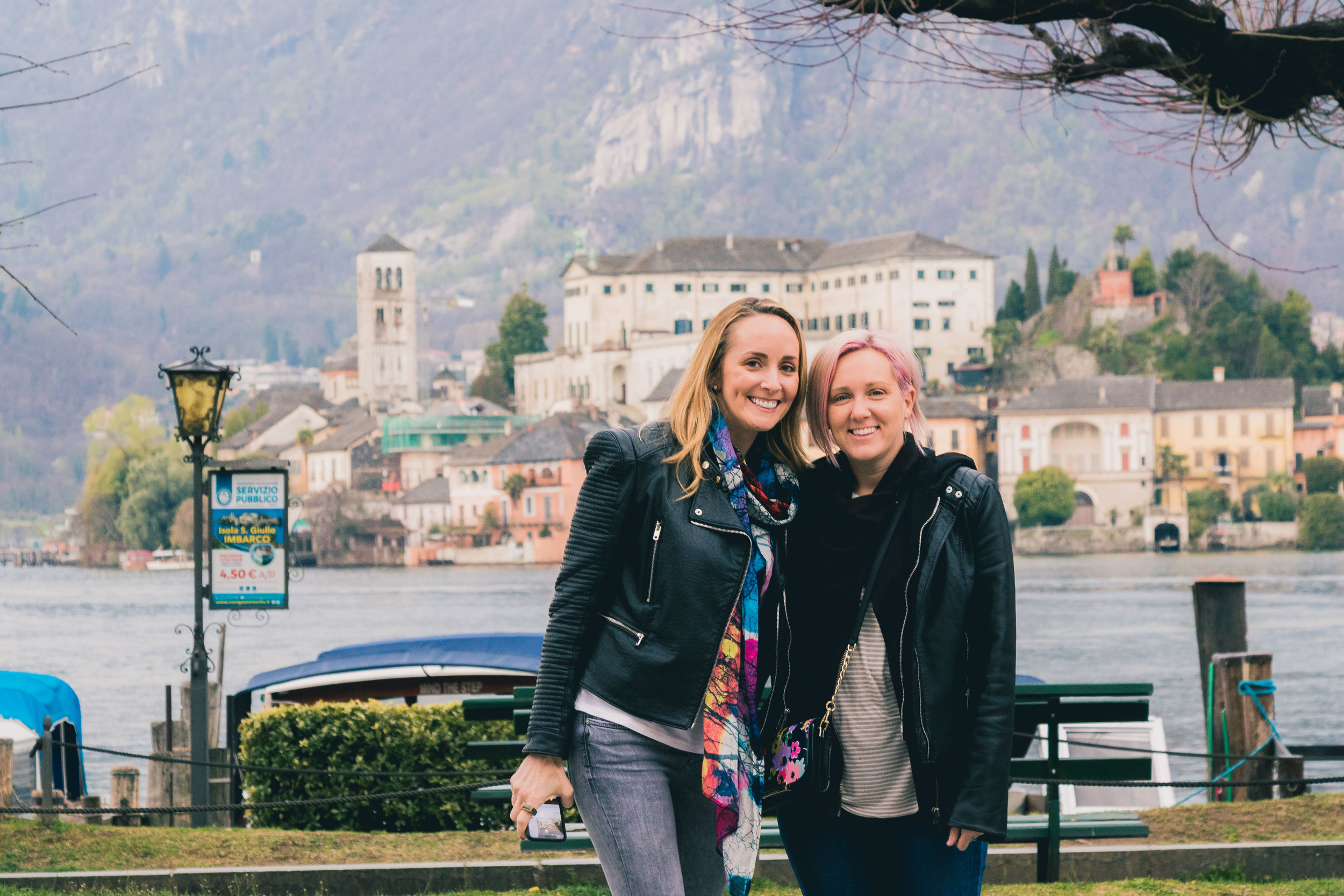 Tracy and  Shirry Dolgin  on  Lake Orta .