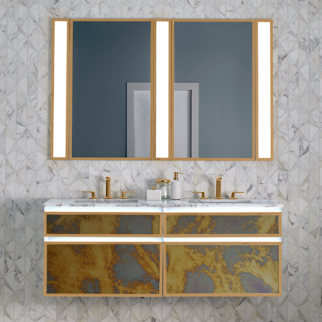 """The interplay of gold and silver in Arcobaleno antique mirror creates an organic display that is as intriguing as it is stylish."""