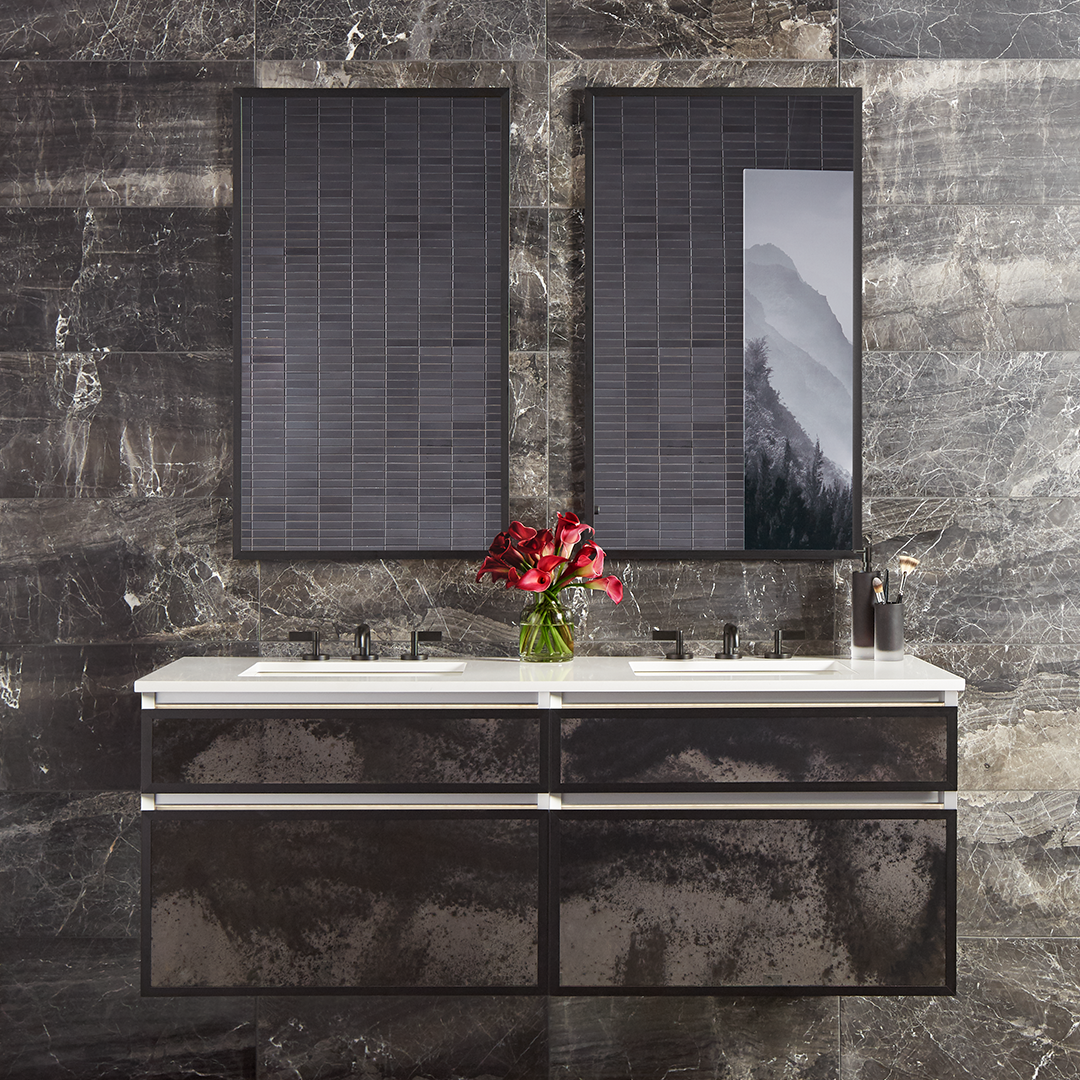"""A shimmering blend of silver and smoke gives Luna antique mirror dramatic appeal."""