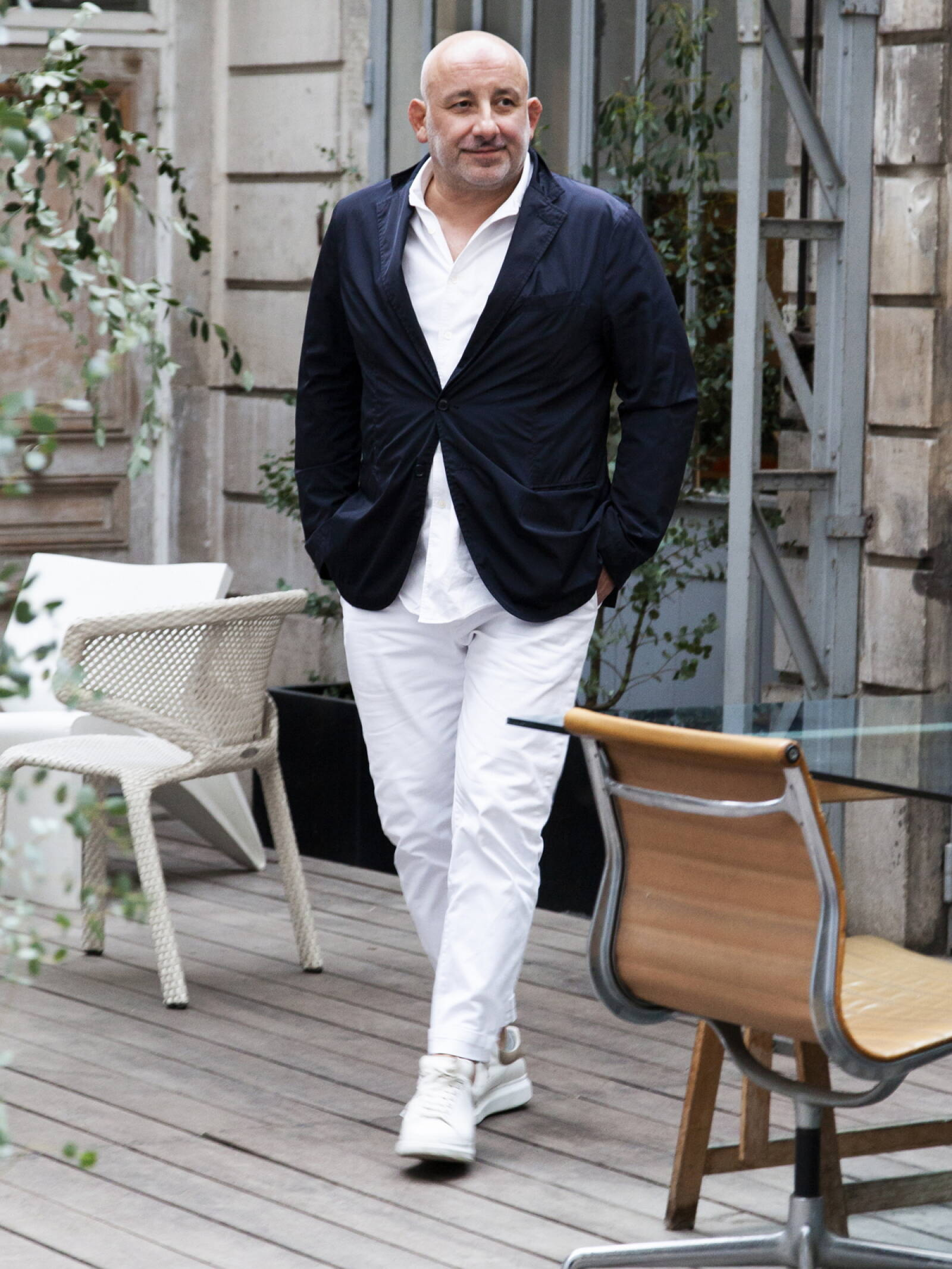 The Toulouse-born designer, Jean-Marie Massaud, in his trademark whites.