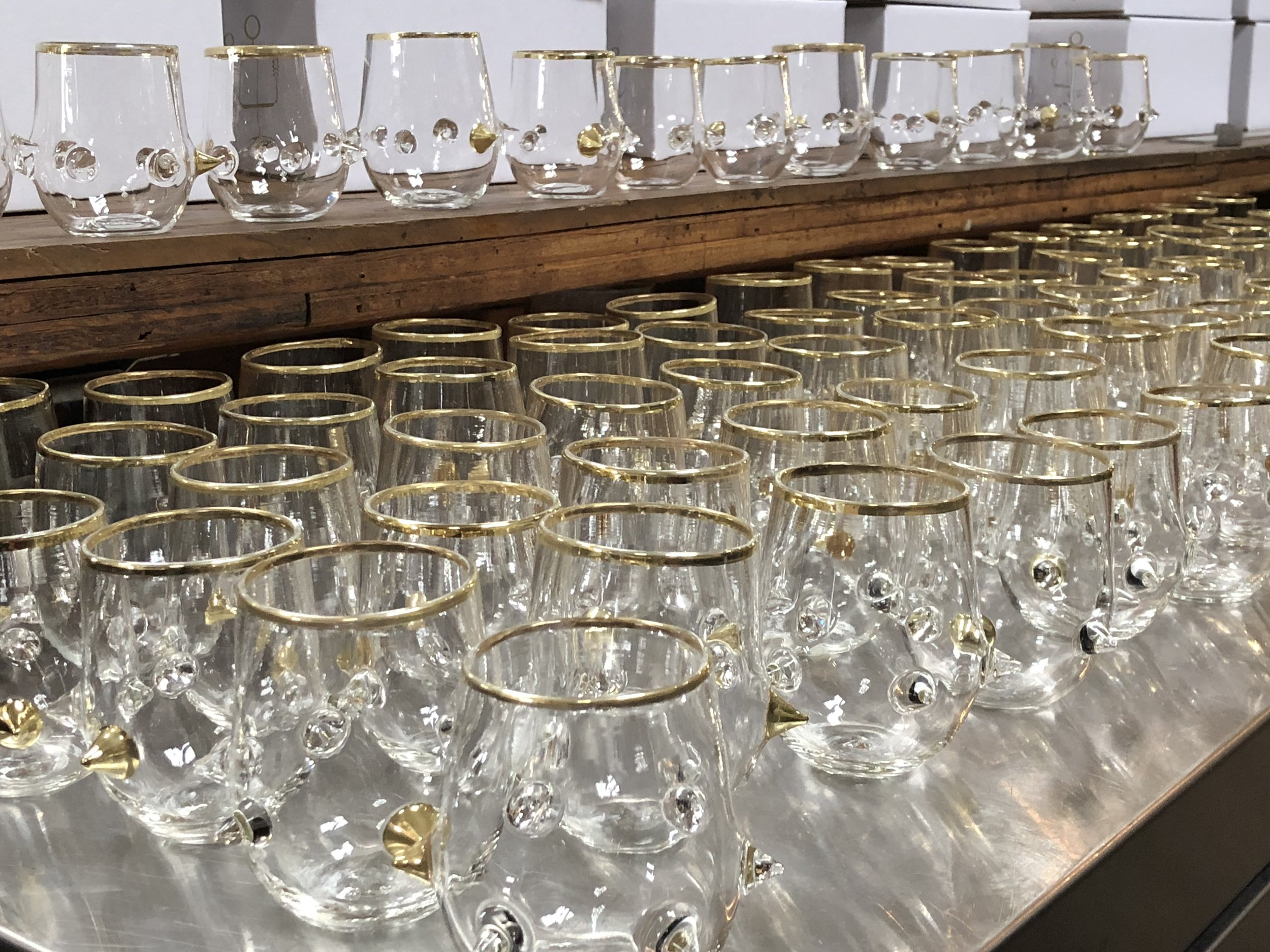 Our custom-ordered Golden Spike glasses. Gorgeous!