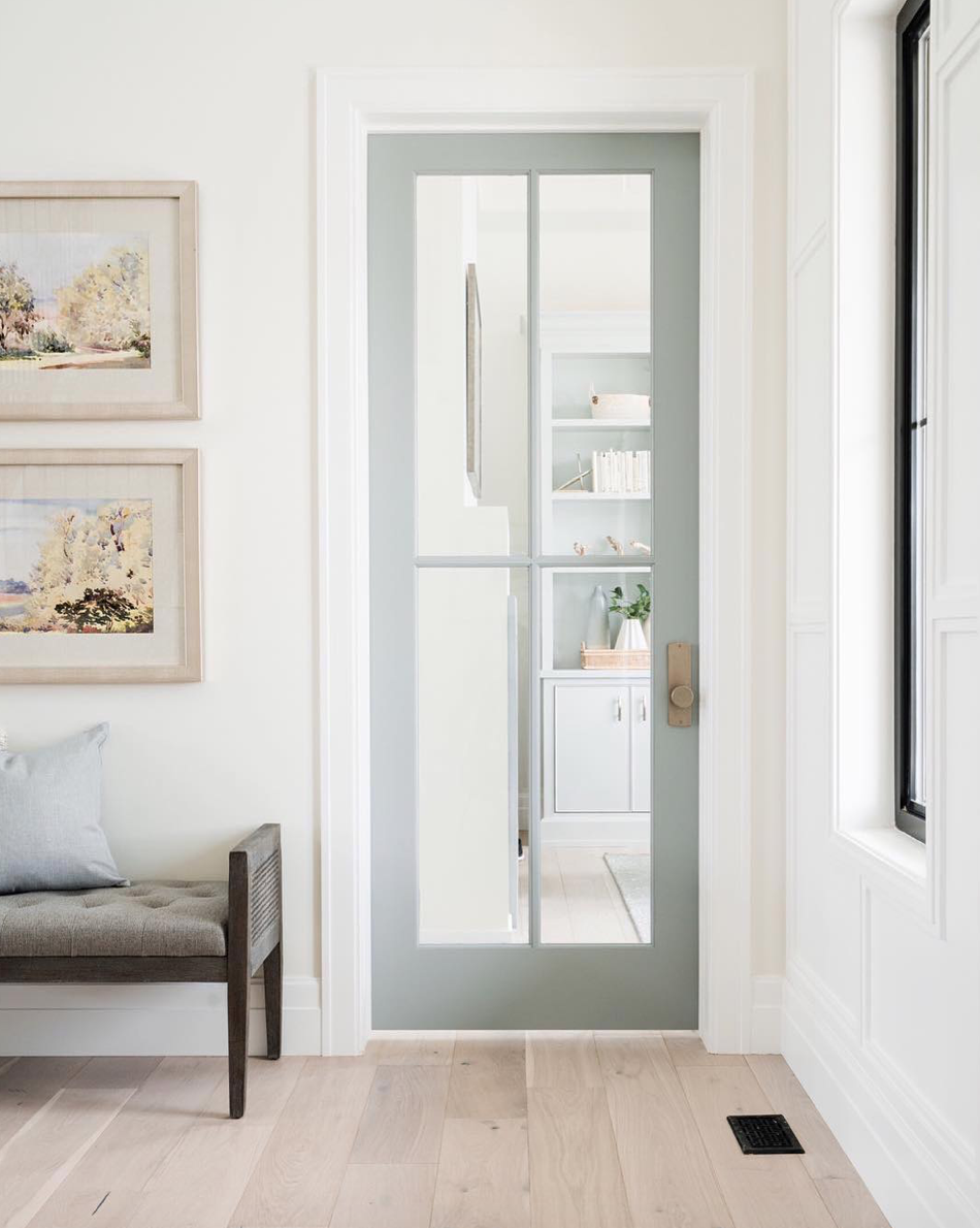 Emtek's tumbled white-bronze finish — a beautiful choice by @designlovesdetail.