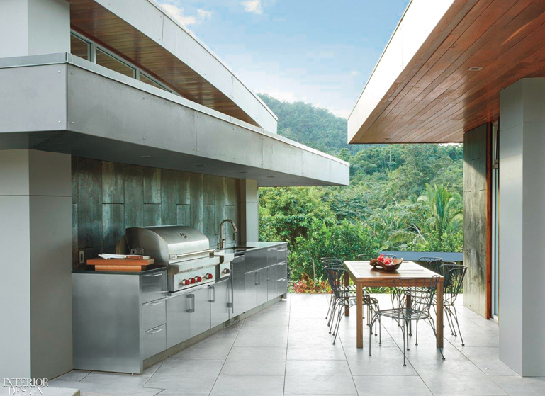 A 42-inch built-in outdoor gas grill and 13-inch built-in burner module, both in heavy-duty stainless steel, and 24-inch outdoor undercounter refrigerator with stainless-steel door, all by Sub-Zero, Wolf and Cove.