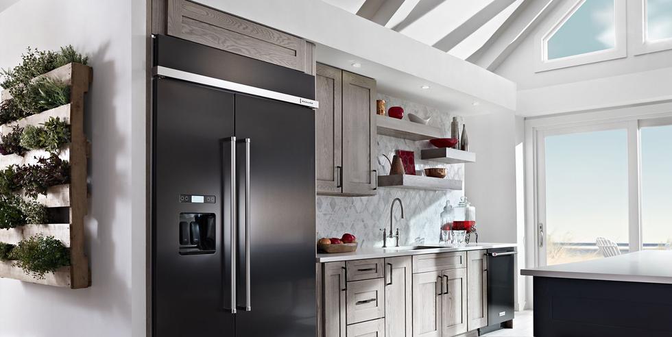A KitchenAid side-by-side refrigerator.