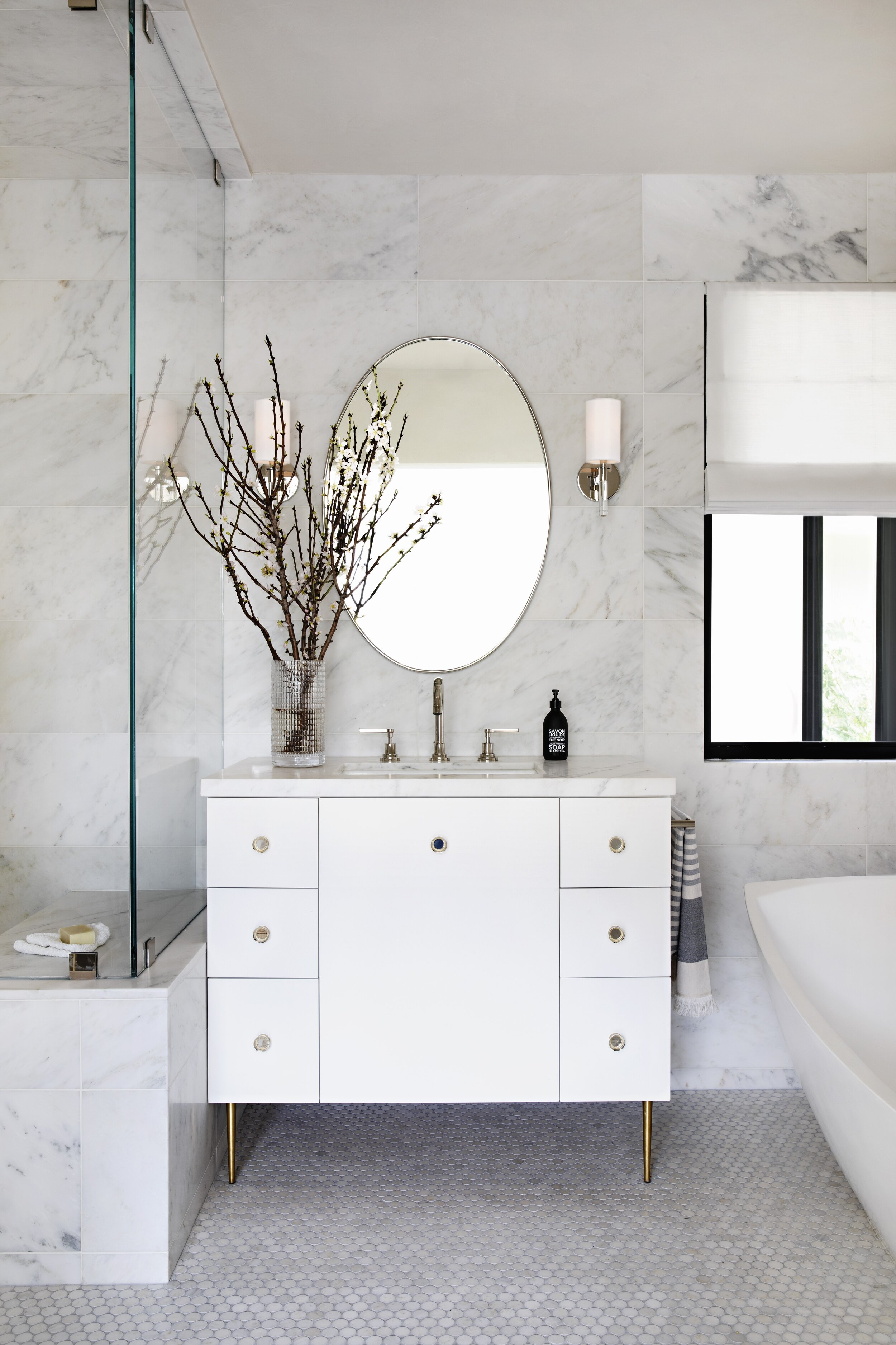 A Beverly Hills bathroom designed by Lori. Photograph by  Karyn Millet