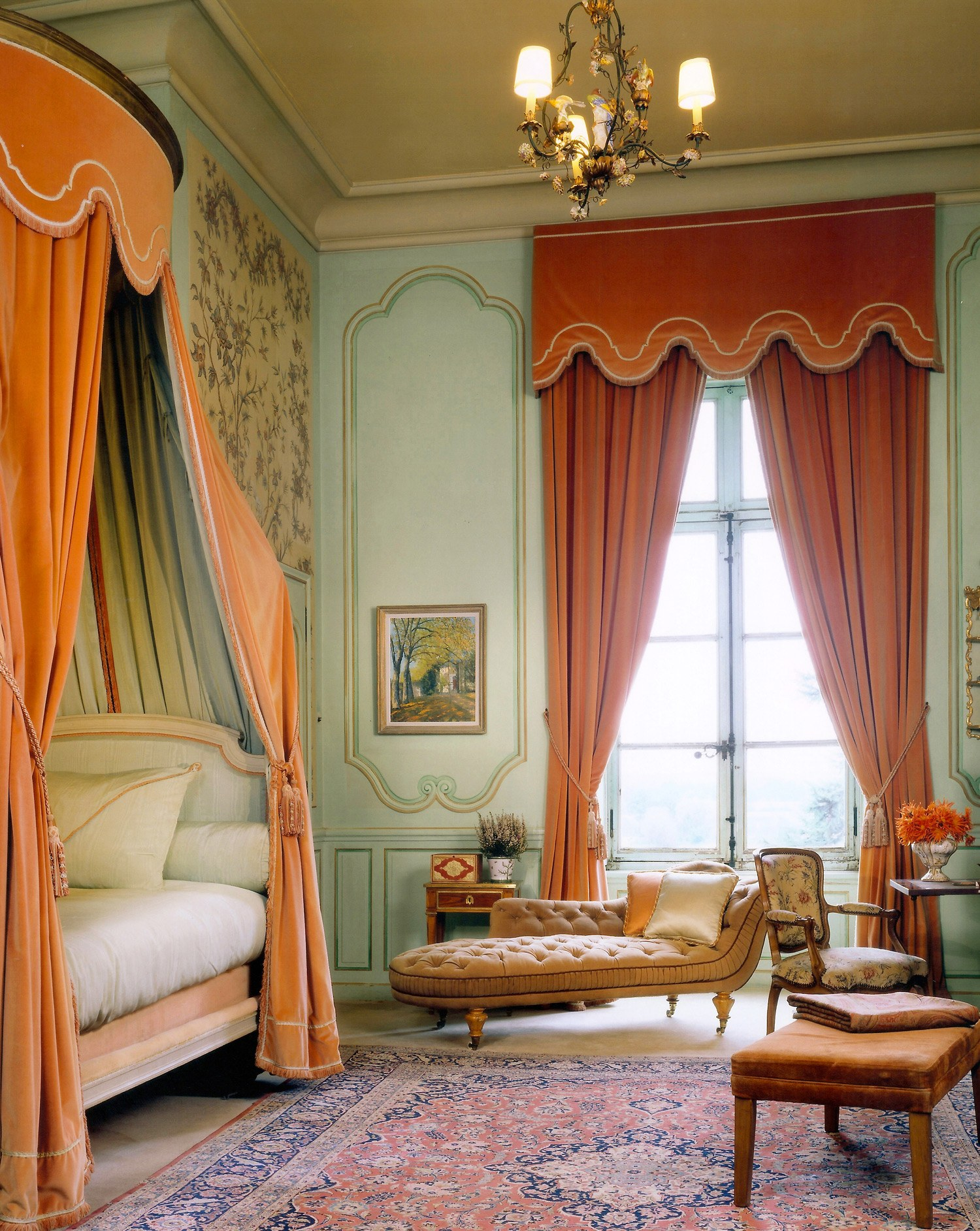 """""""Often the most unexpected color combinations prove the most interesting and inspiring. We wanted to bring new interest to a classical room, so we contrasted the walls, which were painted celadon, with intense burnt-orange curtains and bed draperies. Unexpected colors in traditional rooms make them seem more approachable and more modern."""" Photo: Jim Bartsch"""