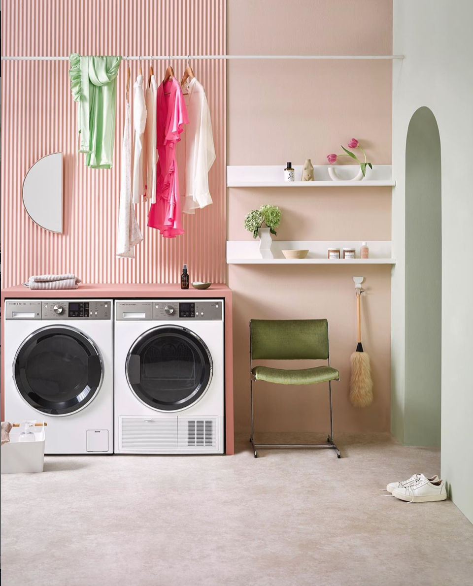 A beautiful, considered laundry space styled by  @juliettewanty  for  @homestylemag . We ? the pastels, the mixture of subtle and overt textural contrasts, and the complementary decorative pieces. Our perfect pair of laundry appliances completes the look, featuring our 12kg Front Loader Washing Machine with matching 8kg Heat Pump Condensing Dryer. Styling  @juliettewanty  ?  @flashstudiosnz