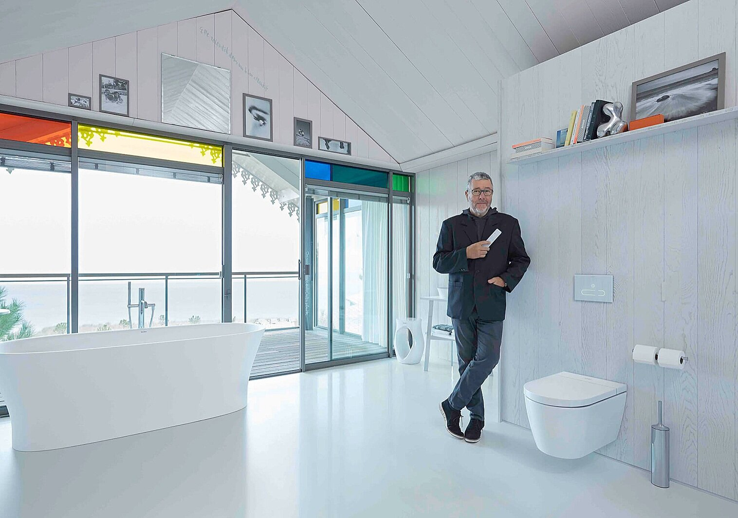 Starck T was designed to round out any contemporary bathroom but it pairs especially well with all of the Duravit by Starck lines. The designer is seen here with his  Cape Cod  collection.