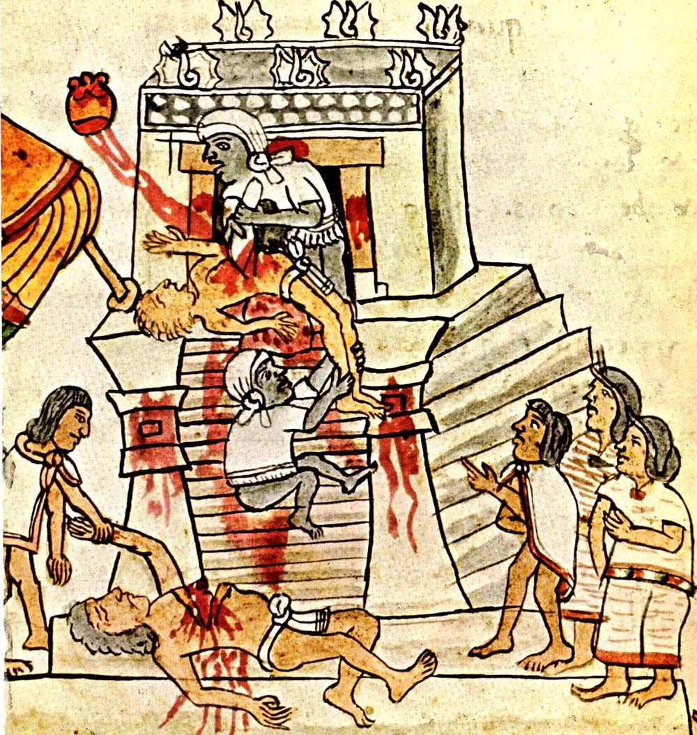 The Aztecs believed that the continued existence of the world was precarious, and could only be secured by sacrificing people alive to the gods. This horrific false belief led to the gruesome and pointless deaths of many tens of thousands of people. Photo:  Wikicommons