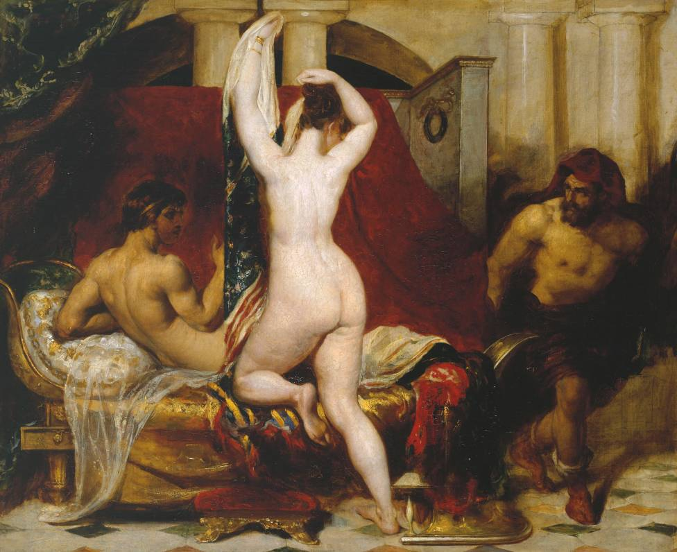 Candaules, King of Lydia, Shews his Wife by Stealth to Gyges, One of his Ministers, as She Goes to Bed.  William Etty, 1830.