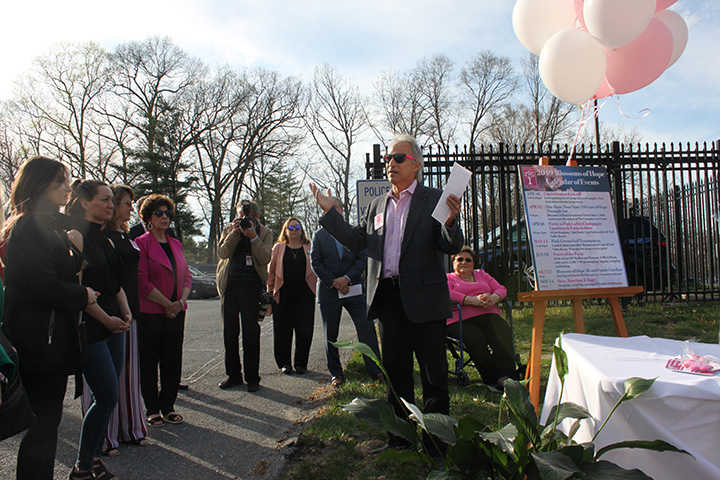 Blossoms of Hope Chair, Joe Barbera, speaking to the crowd about Blossoms, Cherrybration and Jim and Janet Robey.