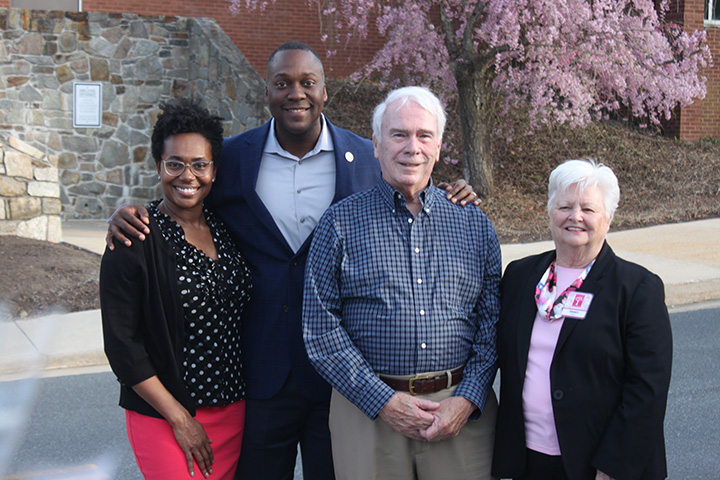 Current County Executive Calvin Ball, with wife Shani Ball and previous County Executive Jim Robey with wife Janet Robey.