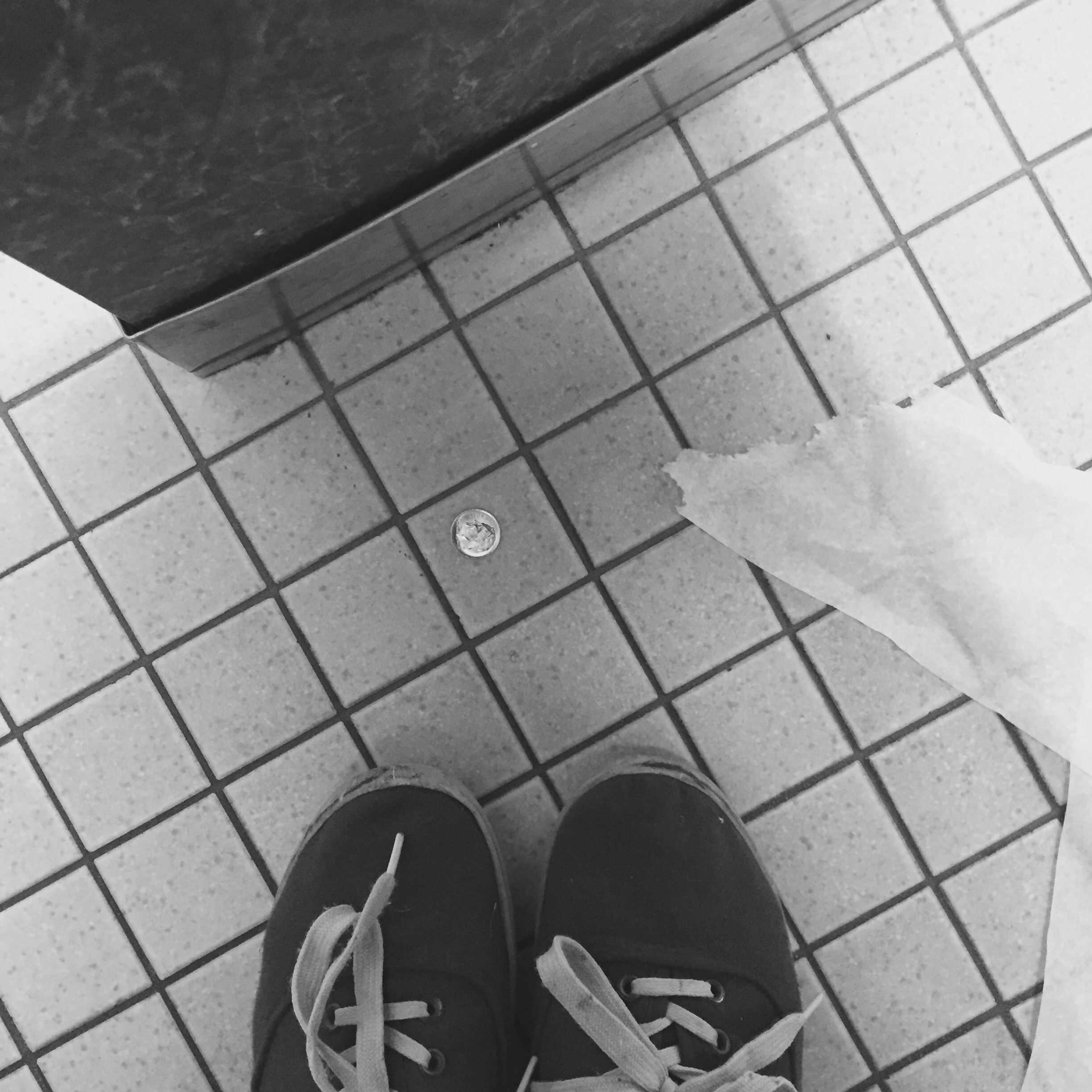 I had a very long internal struggle over this dime I found in the Barnes and Nobel bathroom. I ended up leaving it on the bathroom floor for someone else to have an internal struggle over.
