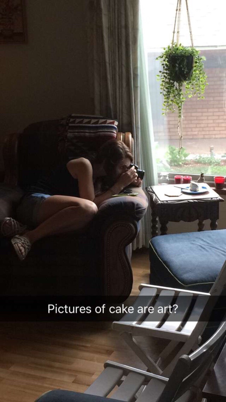 One of my cousins caught me taking pictures of my cake...