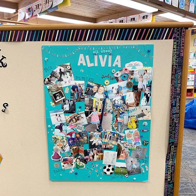 """Last week Alivia was the featured student in her class. We had to prepare an """"all about Alivia"""" board to be displayed by the classrooms and then she would present it to her class at the end of the week. This project was not only fun but it also ended up being a terrific reminder of how grateful I am for our life! Sometimes I get so caught up in the stressors or day to day demands that I forget how truly amazing, fleeting, & full of simple goodness this journey is. It also made me realize 1) Alivia's life cannot be fit onto a board & that is a great problem to have 2) we literally do not take enough photos, even though I feel like we do 👨👩👧💗📚 I never realized sending my child to school would continually teach me as well! #livislifelessons #letherbelittle #livicreates #wherethewyglesare"""