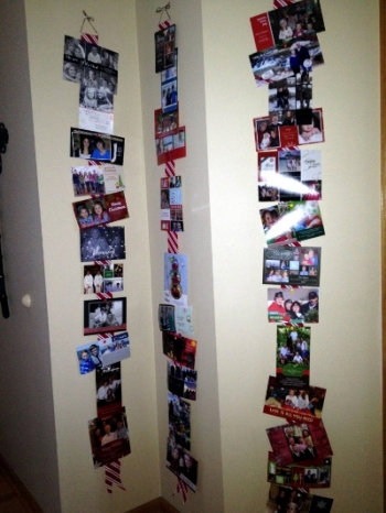 We hang the cards we receive on ribbons that hang in our front entryway.