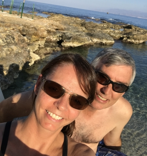 Phones are great for taking selfies, too! The beaches of Crete.