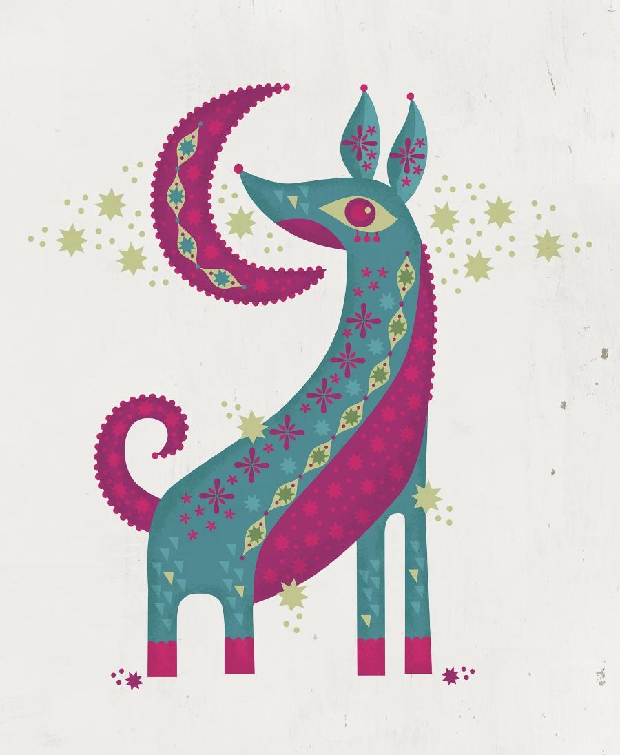 Moon Dog illustration created for Acadiana Animal Aid's Bark in the Dark 2018 event