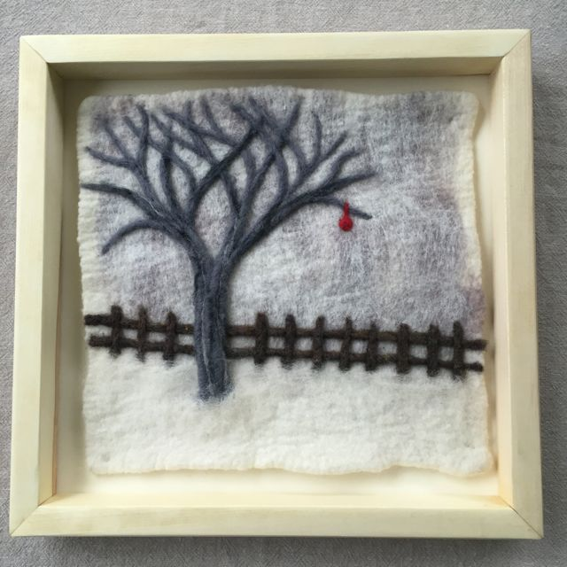 Winter Tree with Fence Felted Landscape