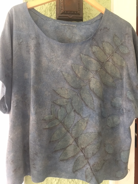 Silk noil top, indigo dipped and printed with walnut and smoke bush leaves.